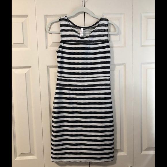Xhilaration Dresses & Skirts - B&W striped body-con dress